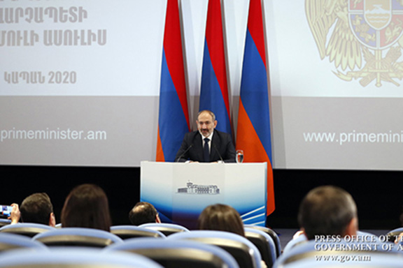 Prime Minister Nikol Pashinyan at a five-hour-plus press briefing on Jan, 25 in Kapan, Armenia