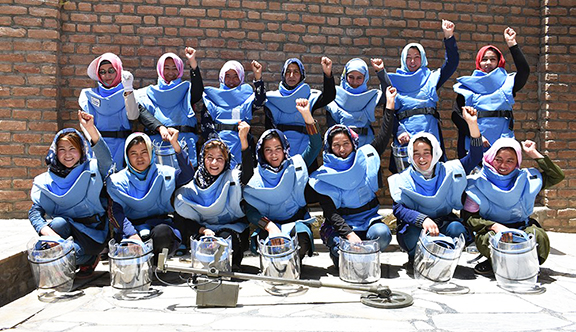 Afghanistan's first all-female demining team completed landmine work in Bamyan province this year, the first of Afghanistan's 34 provinces to be declared free of landmines