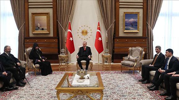 Patriarch Sahak II meets with Turkey's president, Recep Tayyip Erdogan on Monday