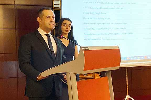 The author, Ara Babaian, speaks at the  IP & Corporate Law Summit