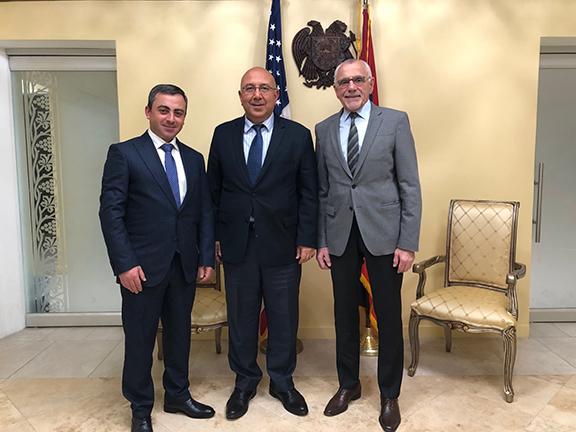 From l to r: ARF Supreme Council of Armenia chairman Ishkhan Saghatelyan, Ambassador Armen Baibourtian and ARF Western U.S. Central Committee chairman Avedik Izmirlian