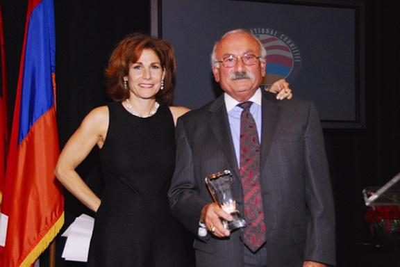 Roxanne Makasdjian with Khajag Sarkissian during the ANCA-WR 2006 Annual banquet, where he received the Vahan Cardashian Award