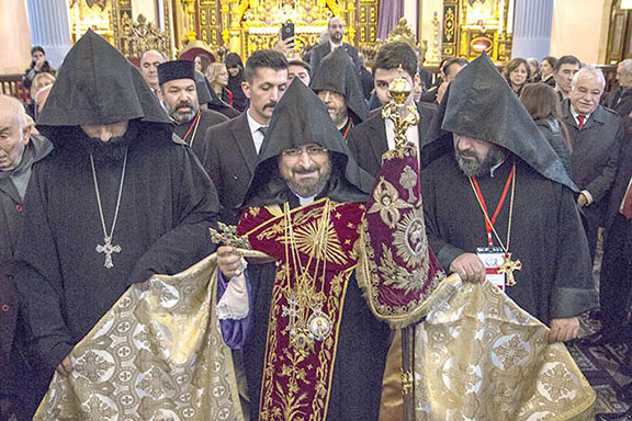 Patriarch Sahak II enters the St. Mary's Church for his installation ceremony