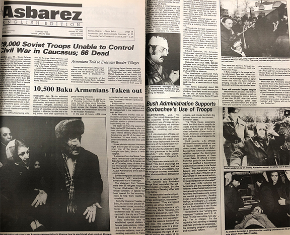 Front page of Asbarez on January 20, 1990 reporting on the Baku Pogroms (Editor's Note: The Asbarez English Section was a weekly publication in 1990)
