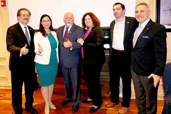 The ANCA's Tereza Yerimyan with Louis Katsos, EMBCA Founder and Chair, Paul Kotrotsios, Founder & Publisher, Hellenic News of America; Paul Pavlakos, Supreme President of the Sons of Pericles, and Dr. Peter Stavrianidis, historian and advocate