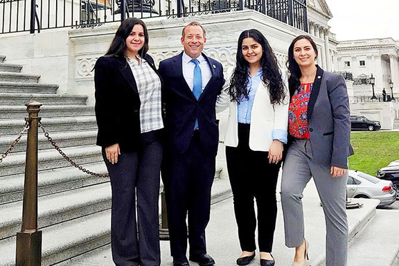 ANCA Leo Sarkisian interns Roubina Bozoian and Nairi Diratsouian join ANCA Government Affairs Director Tereza Yerimyan in thanking Congressman Josh Gottheimer (D-NJ) for his support for amendments expanding aid to Artsakh and Armenia during the summer of 2019