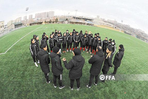 A scene from the Armenia Women's National Soccer team's February training session