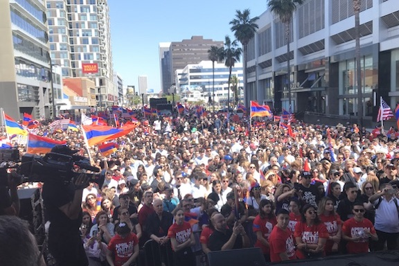 A scene from the March for Justice for the Armenian Genocide at the Turkish Consulate in Los Angeles on April 24, 2019