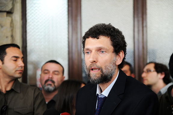 Osman Kavala in court during his trial