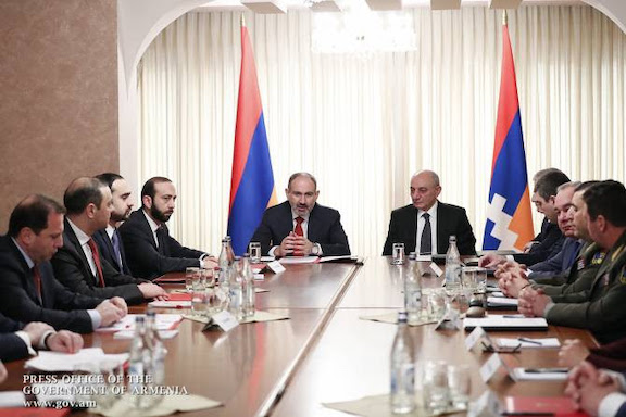 Prime Minister Nikol Pashinyan and Artsakh President Bako Sahakian at a joint session of National Security meeting in Stepanakert
