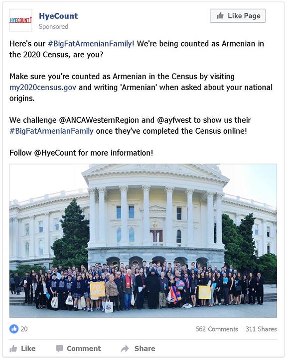 An example of a social media post for the #BigFatArmenianFamily social media challenge