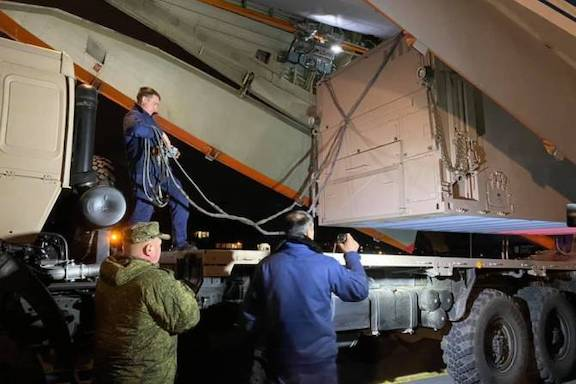 A truck with medical equipment was part of a Russian military specialists flight to Armenia