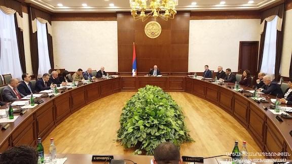 Artsakh President Bako Sahakian chairs a special session of the government's coronavirus task-force