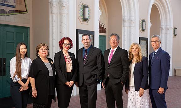 The Glendale Community College Board from left: Sune Aghazarian, Dr. Armine Hacopian, Yvette Davis, Tony Tartaglia, Dr. Vahe Peroomian, Anne Ransford and Dr. David Viar