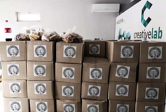 The AEF prepared care packages to distribute to those in need during the COVID 19 crisis