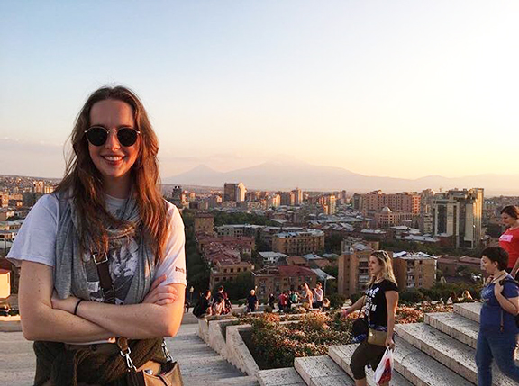 COAF's Eleonor Robb at Yerevan's famed Cascade