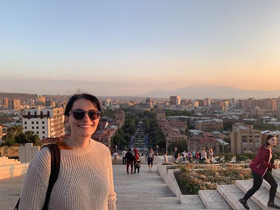 COAF's Tessa Seindenspinner at Yerevan's Cascade