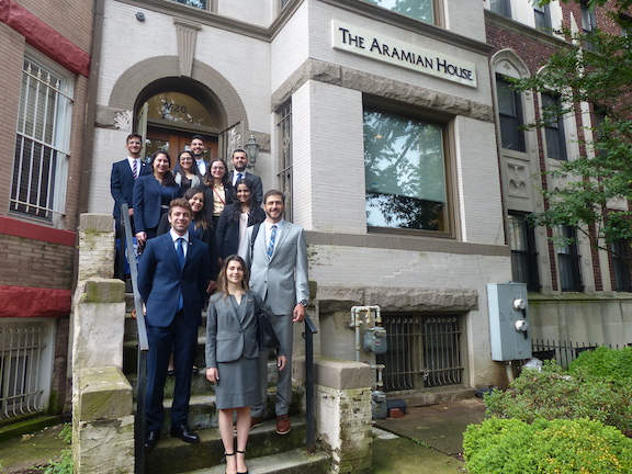The 2019 ANCA Leo Sarkisian interns with ANCA Government Affairs Director Tereza Yerimyan and Programs Director Sipan Ohannesian at the ANCA Aramian House embarking on the first day of their summer of advocacy in Washington, DC.