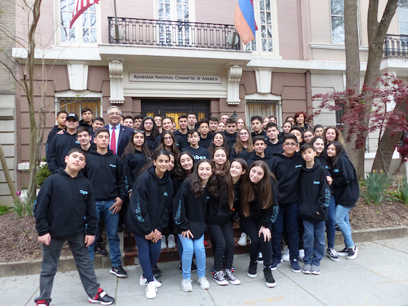 The Alex Pilibos Armenian School 8th graders visiting the ANCA Washington DC headquarters for a chat about Armenian American grassroots advocacy with ANCA Executive Director Aram Hamparian.  Armenian school students from across the U.S. visit the ANCA annually for a fun session of pizza and politics.