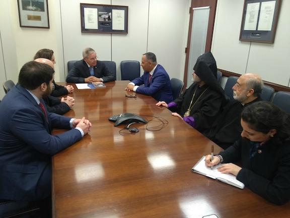 ANCA Chairman Raffi Hamparian leads an ANCA delegation meeting with Senate Foreign Relations Committee Ranking Democrat Robert Menendez (D-NJ), joined by Archbishop Anoushavan Tanielian and Fr. Sarkis Aktavoukian.