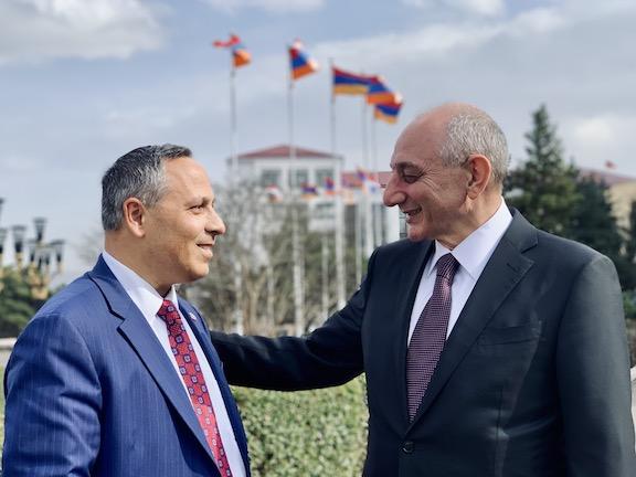 ANCA Chairman Raffi Hamparian with Republic of Artsakh President Bako Sahakyan during a recent international ANC's conference held in Stepanakert and Yerevan.