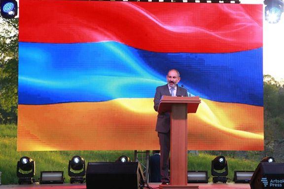 Armenia's Prime Minister Nikol Pashinyan addresses the inauguration cermony