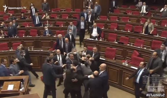 A brawl broke out on Friday between pro-government and opposition members of the Armenian parliament