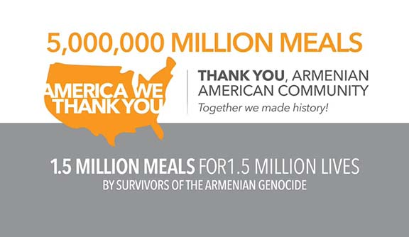 Through the efforts of the Armenian community, Feed America will be able to provide meals to 5 million people during the COVID-19 crisis