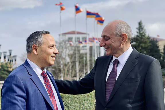 ANCA Chairman Raffi Hamparian with Republic of Artsakh President Bako Sahakian during a recent international ANC's conference held in Stepanakert and Yerevan.