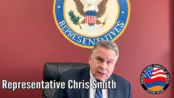 """Senior House Foreign Affairs Committee Congressman Chris Smith (R-NJ) shares a powerful message for the ANCA Eastern Region's """"April 24: A Call for Justice"""" virtual Armenian Genocide commemoration."""