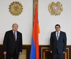 President Armen Sarkissian met with then president-elect Arayik Harityunyan