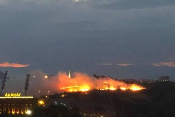 A massive brushfire is reported at Dzidzernagapert Armenian Genocide Memorial Complex