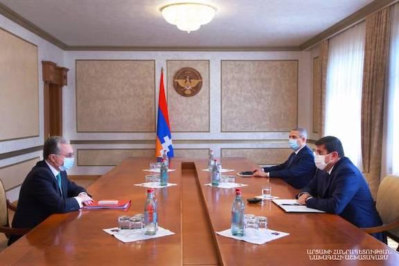 Armenia's Foreign Minister of  Zohrab Mnatsakanyan meets with Artsakh President Arayik Harutyunyan  in Stepanakert on July 4