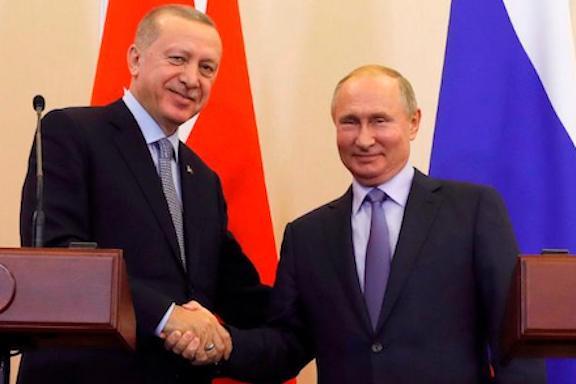 Russian President Vladimir Putin, right, and Turkish President Recep Tayyip Erdogan met in October, 2019