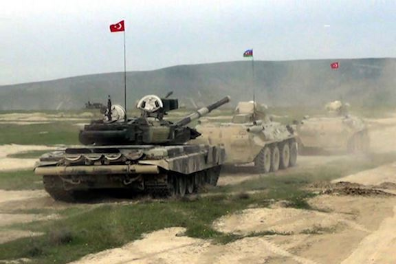 Azerbaijani and Turkish tanks during joint military exercises in May 2019 (Source: Azerbaijan's Defense Ministry)