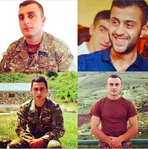 Clockwise from top left: Our fallen heroes, Major Garush Hambardzumyan and Captain Sos Elbakyan, Grisha Matevosyan and Smbat Gabrielyan
