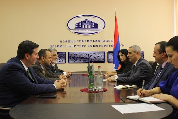 Artsakh Foreign Minister Masis Mayilyan meets with Sen. Anthony Portantino, then Glendale Mayor Zareh Sinanyan and current Glendale City Councilmember Ardy Kassakhian in 2018