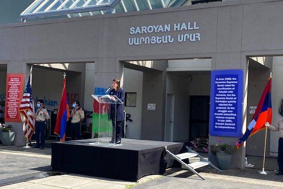 "California Lieutenant Governor Eleni Kounalakis at the ""Armenians United Against Hate"" Rally on Aug. 2"