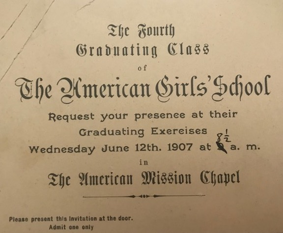 An invitation to the school's commencement ceremony in 1907