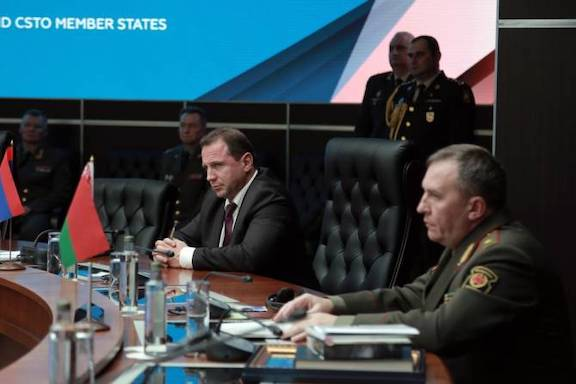 Armenia's Defense Minister David Tonoyan addresses a joint session of defense ministers of CIS, the Shanghai Cooperation Organization and the Collective Security Treaty Organization (CSTO) countries.