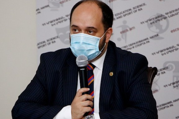 Armenia's Education Minister Arayik Harutyunyan during a press conference on Sept. 16