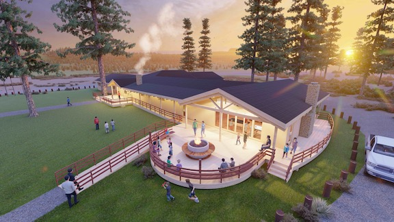 An architect's rendition of the Camp AREV lodge