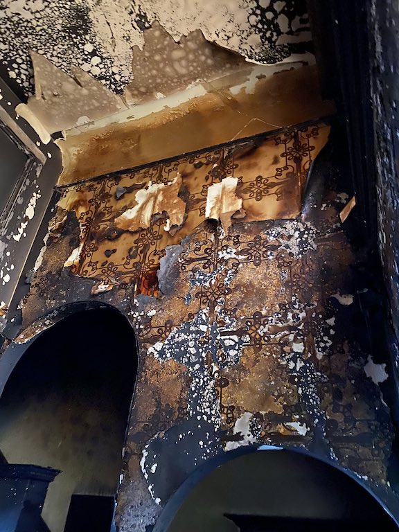 The scorched interior of the San Francisco Armenian Center adjacent to the St. Gregory the Illuminator Church