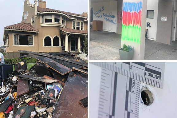 Clockwise from left: Arson at the community center, graffiti at KZV school and shots fired at the school building