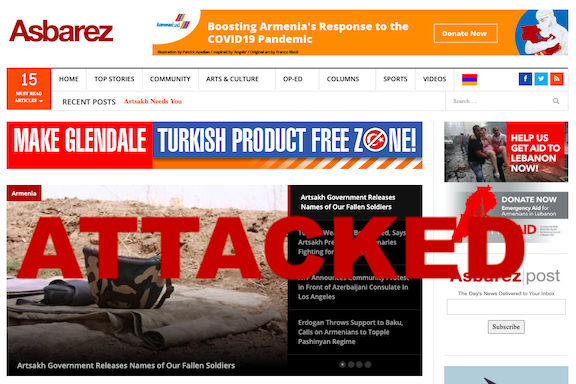 The Asbarez website is being attacked