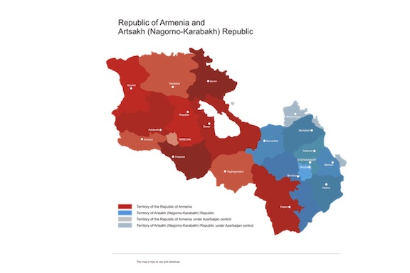 A map of Armenia and Artsakh