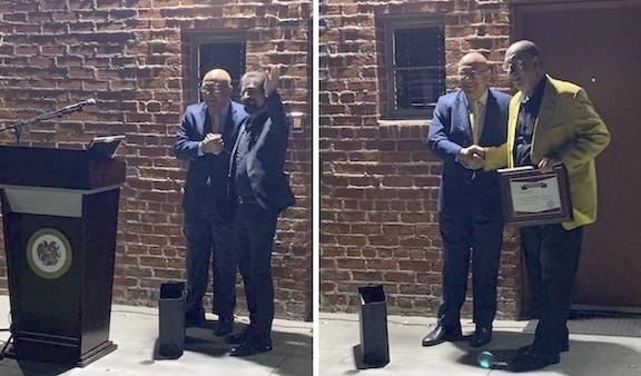 Ambassador Armen Baibourtian presents awards to Harut Pamboukian (left) and Razmik Manuryan