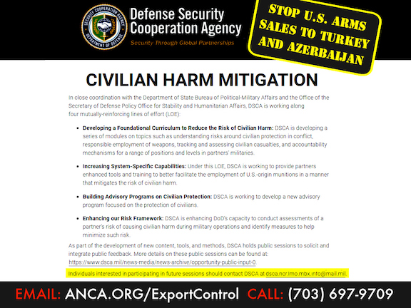 The ANCA is working to block U.S. arms sales to Turkey and Azerbaijan, launching a grassroots campaign at anca.org/exportcontrol