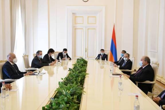 President Armen Sarkissian hosted Greek Foreign Minsiter Nikos Denidas in Yerevan on Oct. 16