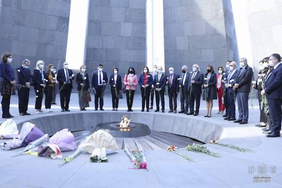 A 15-member delegation of French lawmakers visited Dzidzernagapert on Oct. 25